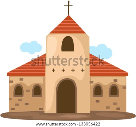 illustration of isolated christian church on white - stock vector