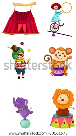 illustration of isolated circus set on white background - stock vector