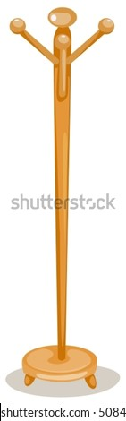 illustration of isolated coat rack on white background - stock vector