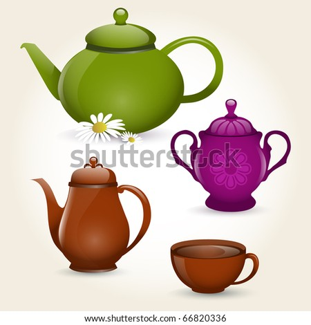 Illustration of isolated coffee set or tea set - stock vector