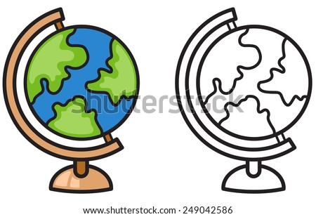 Illustration of isolated colorful and black and white earth globe for coloring book - stock vector