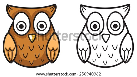 Illustration of isolated colorful and black and white owl for coloring book - stock vector