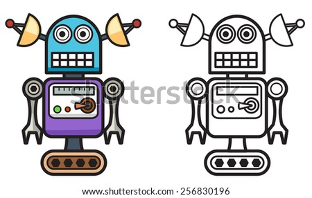 Illustration of isolated colorful and black and white robot for  coloring book - stock vector