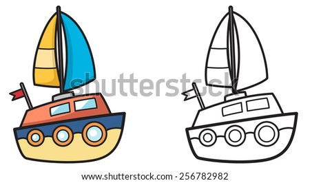 illustration of isolated colorful and black and white yacht for coloring book - stock vector