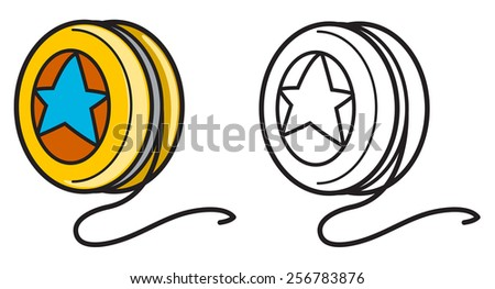 illustration of isolated colorful and black and white yo-yo for coloring book - stock vector