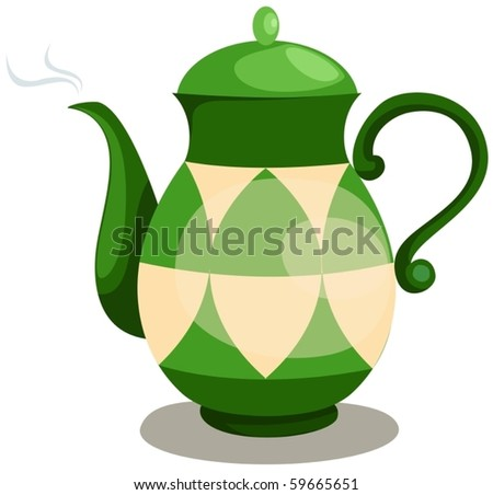 illustration of isolated colorful coffee pot on white - stock vector