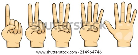 illustration of isolated counting finger 1,2,3,4 and 5 on white  - stock vector