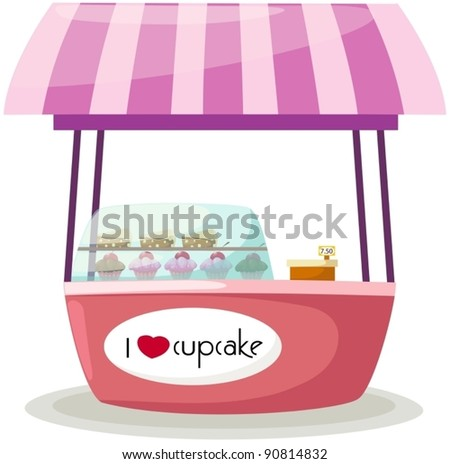 illustration of isolated cupcake stand shop on white - stock vector