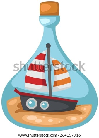 illustration of isolated cute boat in a bottle  - stock vector