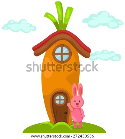illustration of isolated cute carrot house with rabbit  - stock vector