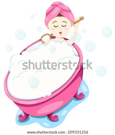 illustration of isolated cute girl take a bubble bath on white  - stock vector