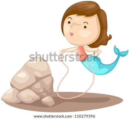 illustration of isolated cute mermaid on white - stock vector