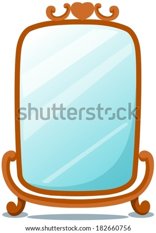 illustration of isolated cute mirror on white  - stock vector
