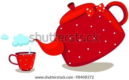 illustration of isolated cute pot with cup - stock vector
