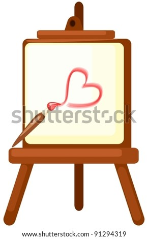 illustration of isolated drawing a red heart on easel on white - stock vector