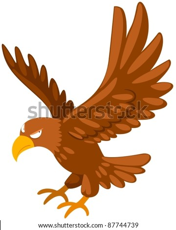 illustration of isolated eagle flying on white background - stock vector