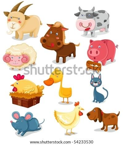 illustration of isolated farm animals set on white background - stock vector