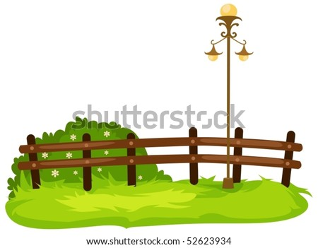 illustration of isolated fence with lamp on white - stock vector
