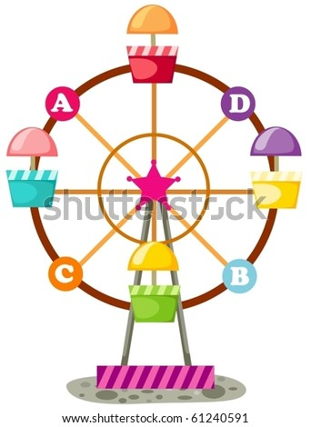 illustration of isolated ferris wheel on white background - stock vector