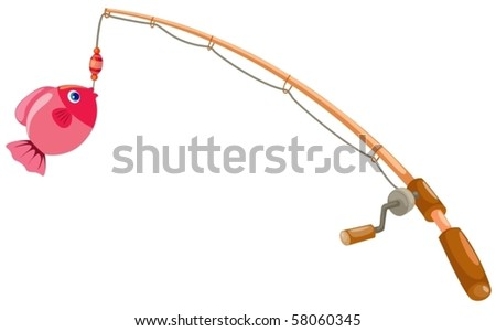 illustration of isolated fishing rod on white background - stock vector