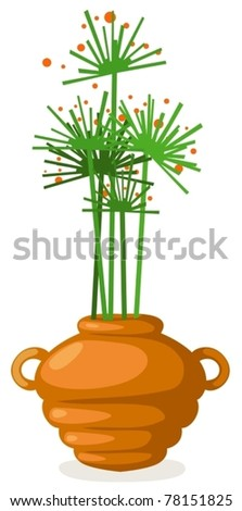 illustration of isolated flowers in vase on white background - stock vector