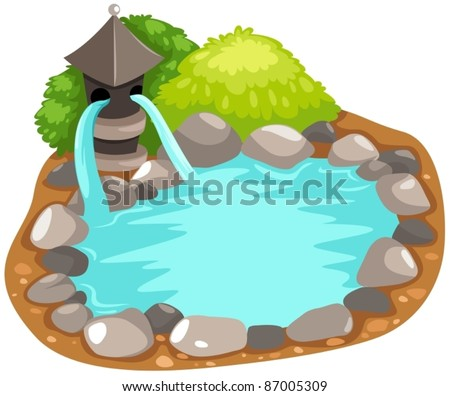illustration of isolated fountain japanese on white background - stock vector