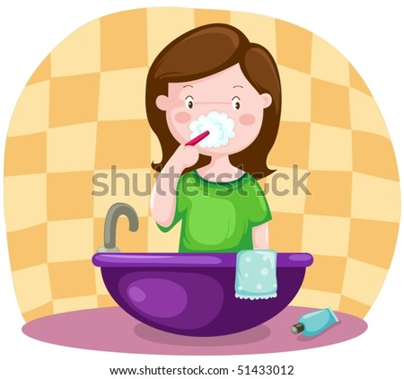 illustration of isolated girl brushing teeth