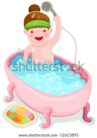 illustration of isolated girl in the bath tub on white - stock vector