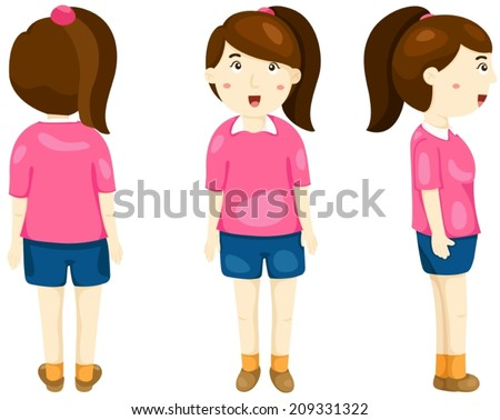 illustration of isolated girl posing back, front and side view - stock vector