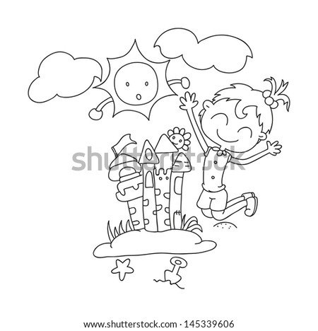 illustration of isolated hand drawn little girl building her sandy castle vector - stock vector