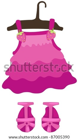 illustration of isolated hanging dress girl and shoes - stock vector