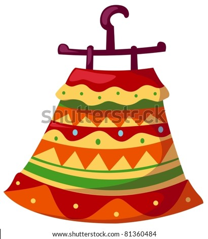 illustration of isolated hanging mexican kid dress on white - stock vector