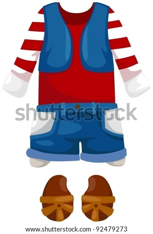 illustration of isolated kid clothes on white background - stock vector