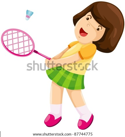 illustration of isolated little girl playing badminton on white - stock vector