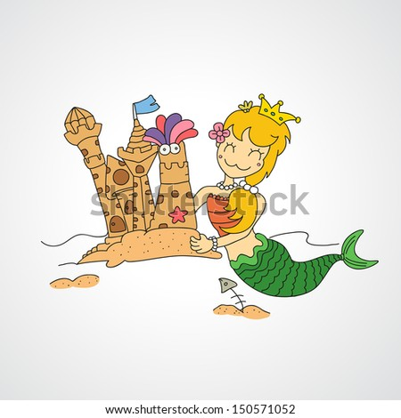 illustration of isolated  little mermaid & her sandy castles vector - stock vector