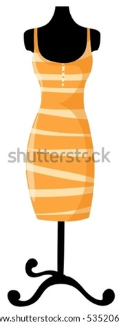 illustration of isolated mannequin with dress on white background - stock vector
