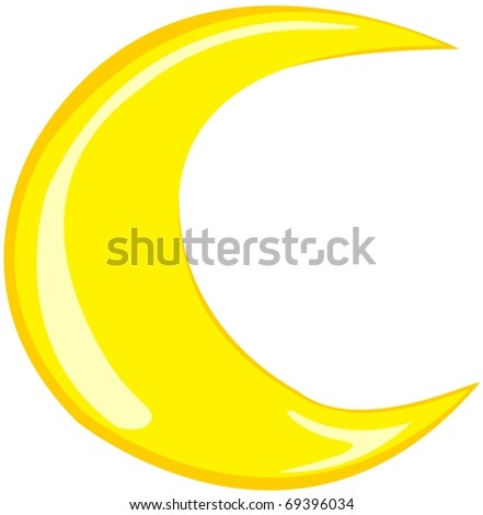 illustration of isolated moon on white background - stock vector