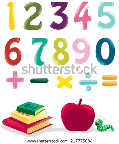 illustration of isolated number, books and apple on white  - stock vector