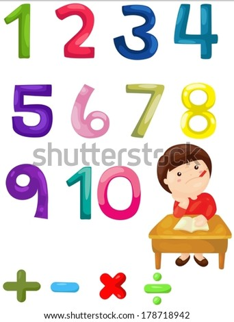 illustration of isolated numbers mathematics  - stock vector