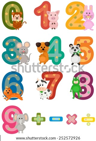 illustration of isolated numbers mathematics with animals