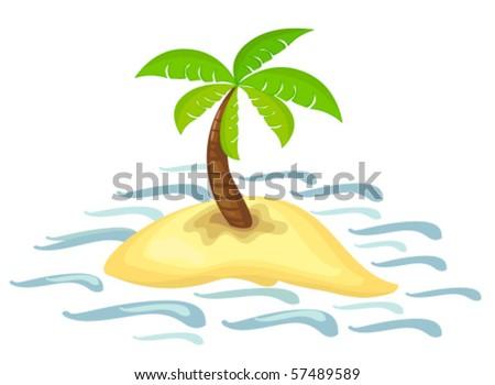 illustration of isolated palm tree on desert island - stock vector
