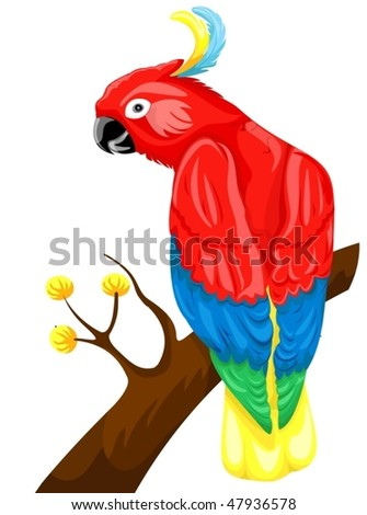 illustration of isolated parrot sitting on a branch on white - stock vector