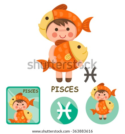 Illustration of isolated pisces vector collection. zodiac signs - stock vector