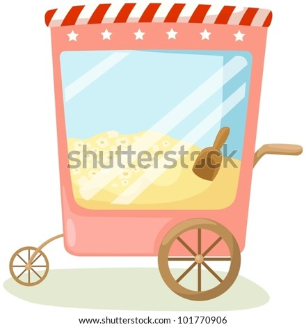 illustration of isolated popcorn cart on white background - stock vector