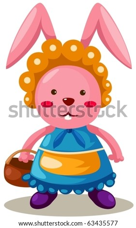 illustration of isolated rabbit with basket on white background - stock vector