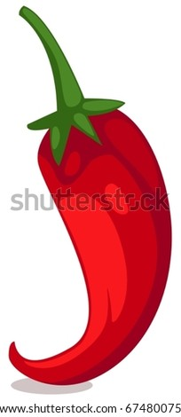 illustration of isolated red chili on white background - stock vector