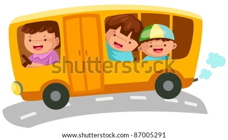 illustration of isolated  school bus on white background - stock vector