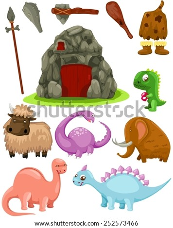 illustration of isolated set dinosaurs and caveman weapons