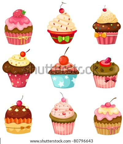 illustration of isolated set of cupcake on white - stock vector