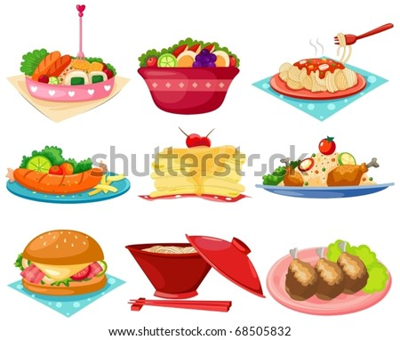 illustration of isolated set of food on white background - stock vector